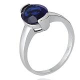 Кольцо из серебра Китнисс с синим фианитом