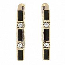 Золотые сережки Трейси с эмалью и бриллиантами