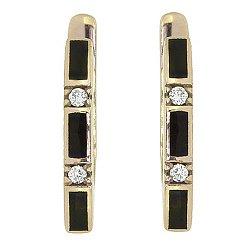 Золотые серьги с эмалью и бриллиантами 000040353