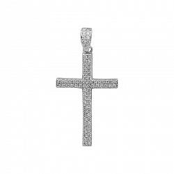 Серебряный крестик Морозное утро с фианитами