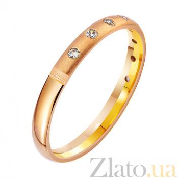 Золотое обручальное кольцо Связующая нить с фианитами TRF--412975