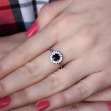 Серебряное кольцо Джулия с наносапфиром и фианитами