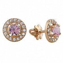 Золотые сережки-пуссеты Линда с розовым топазом и фианитами