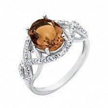Серебряное кольцо с раухтопазом и фианитами 000133661