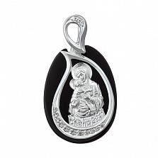 Серебряная ладанка с ониксом Матерь Божья