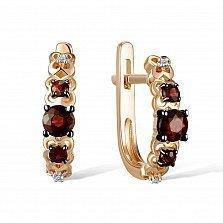 Серьги из красного золота Урсула с бриллиантами и гранатами