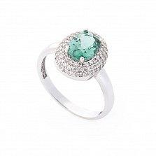 Золотое родированное кольцо Майя в белом цвете с зеленым кварцем и белыми фианитами
