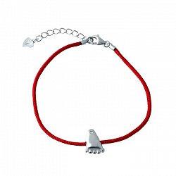 Браслет из серебра и красной нити Ножка с фианитом