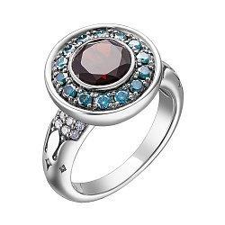 Кольцо из белого золота с гранатом, бриллиантами и черным родием 0.66ct 000145355