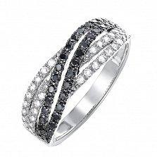 Кольцо из белого золота Адажио с черными и белыми бриллиантами