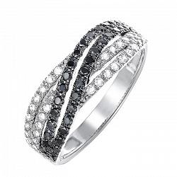 Кольцо из белого золота с черными и белыми бриллиантами 000064823