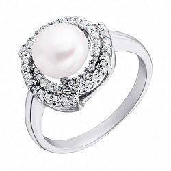 Серебряное кольцо с жемчугом и фианитами 000132606