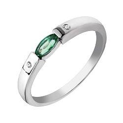 Серебряное кольцо с изумрудом и бриллиантами 000040323