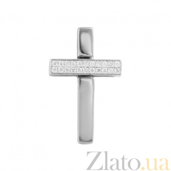 Золотой крест в белом цвете с бриллиантами Утверждение 000026785