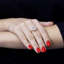Золотое кольцо Миранда с голубым топазом и цирконием