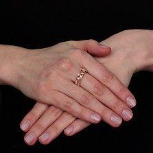 Золотое кольцо Рассветная роса с кристаллами циркония