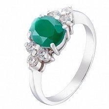 Серебряное кольцо Шарлиз с агатом и фианитами