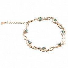 Серебряный браслет Изольда с зелеными фианитами и позолотой