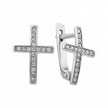 Серебряные серьги-крестики Лунный свет с фианитами