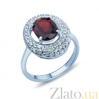 Серебряное кольцо с гранатом и цирконами Сисилия AQA--R00812G