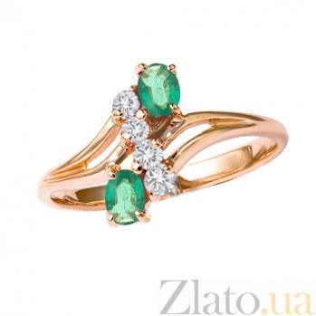 Кольцо в красном цвете золота с изумрудами и бриллиантами Электра 000021371