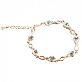 Серебряный браслет Изольда с зелеными фианитами и позолотой 000033798