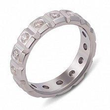 Обручальное кольцо из белого золота с бриллиантами Сила любви