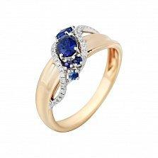 Золотое кольцо с сапфирами и бриллиантами Морская волна