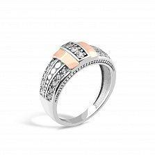 Серебряное кольцо Ангелина с золотыми накладками, фианитами и родием