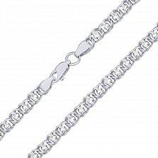 Серебряный браслет на ногу с чернением Мирена с белым цирконием