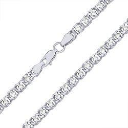 Серебряный браслет на ногу с чернением Мирена с белым цирконием, 4,5мм