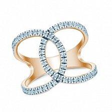Серебряное кольцо Волна позолоченное с цирконием
