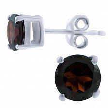 Серьги-пуссеты из серебра Аванти с гранатом