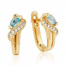 Золотые серьги Офелия с голубым топазом и фианитами