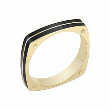 Перстень в желтом золоте Награда с эмалью