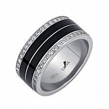 Серебряное обручальное кольцо Новая жизнь с фианитами и эмалью