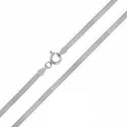 Серебряная родированная цепочка в плетении плоский снейк, 3мм 000072007