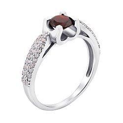 Серебряное кольцо с гранатом и фианитами 000008333