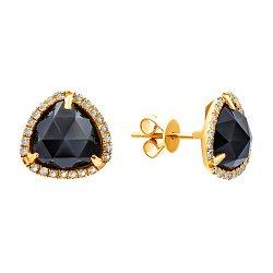 Серьги-пуссеты из желтого золота с гранатами и бриллиантами 000139465