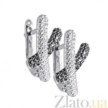 Золотые серьги с бриллиантами Брижит KBL--С2299/бел/брил