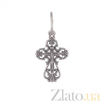 Серебряный ажурный крестик Исцеление Господне с чернением HUF--3495-Ч