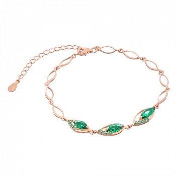 Срібний браслет з зеленими фіанітами і позолотою 000033796