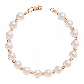Золотий браслет Таємниця морів у червоному кольорі з перлами