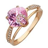 Золотое кольцо Эвелин с розовым топазом и фианитами
