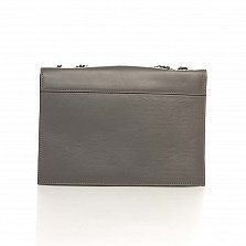 Кожаный клатч Genuine Leather 8058 темно-серого цвета с декоративными элементами и цепочкой