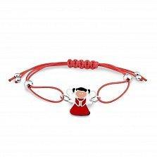 Детский шелковый красный браслет Девочка-ангел с серебряной вставкой и разноцветной эмалью