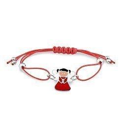 Детский шелковый красный браслет Девочка-ангел с серебряной вставкой и разноцветной эмалью 000114345