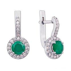 Серебряные серьги с зеленым агатом и фианитами 000066591