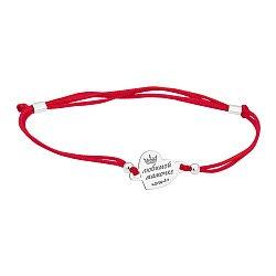 Шелковый браслет Любимой мамочке с серебряной вставкой-сердцем
