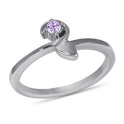 Золотое кольцо Корра в белом цвете с синтезированным аметистом